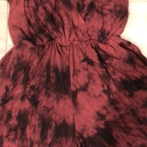 Ginger G Shorts - Maroon and black tie-dye romper with pockets